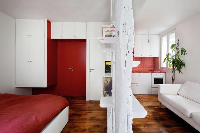 Стильная перепланировка квартиры 25 квадратных метров