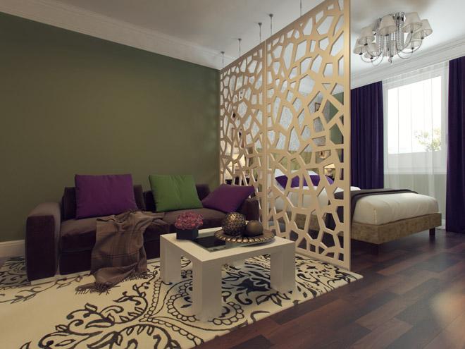 Роскошный дизайн квартиры с необычной перегородкой
