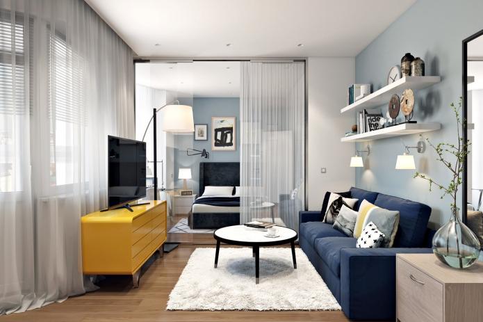 Стильная перепланировка квартиры 42 квадратных метра