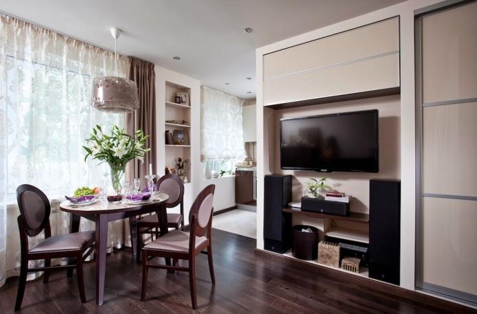 Стильная перепланировка квартиры 33 квадратных метра
