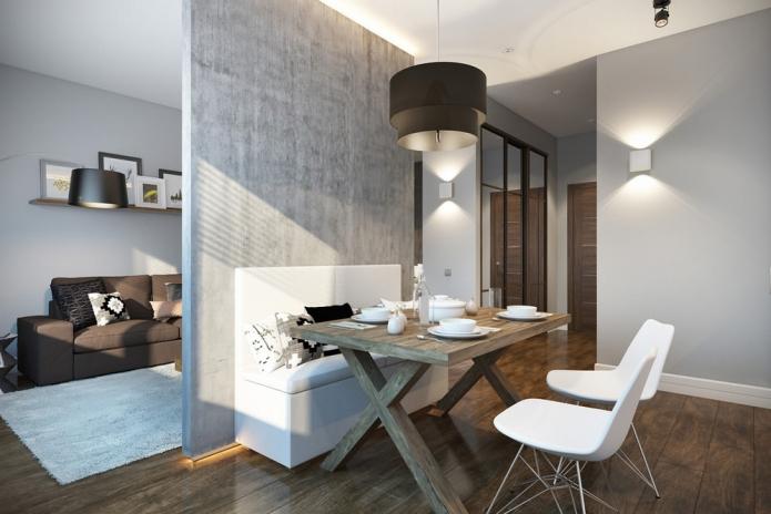 Стильная перепланировка квартиры 30 квадратных метров