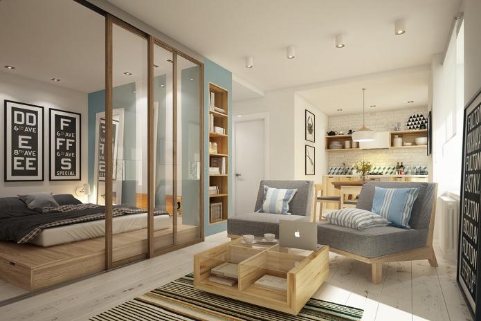 Стильная перепланировка квартиры 40 квадратных метров