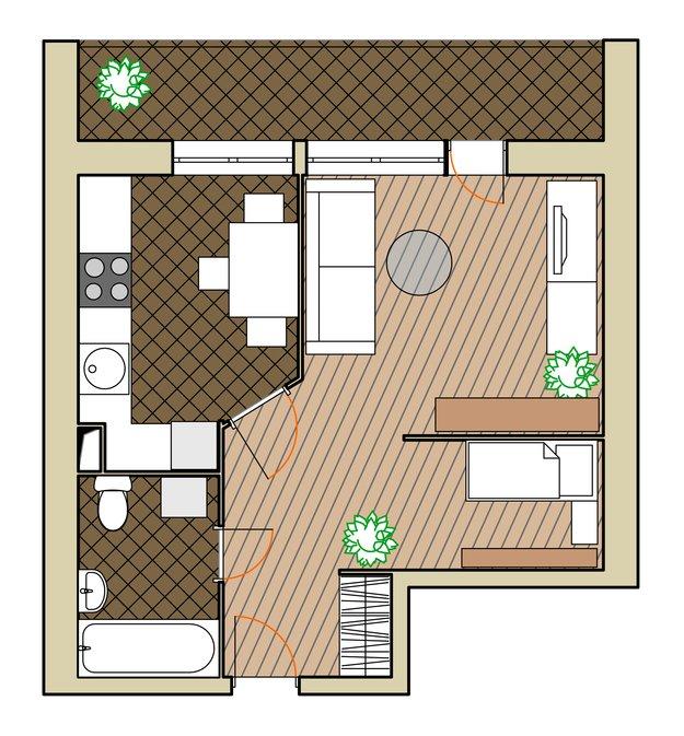 Планировка квартиры для семейной пары и ребёнка с игровой