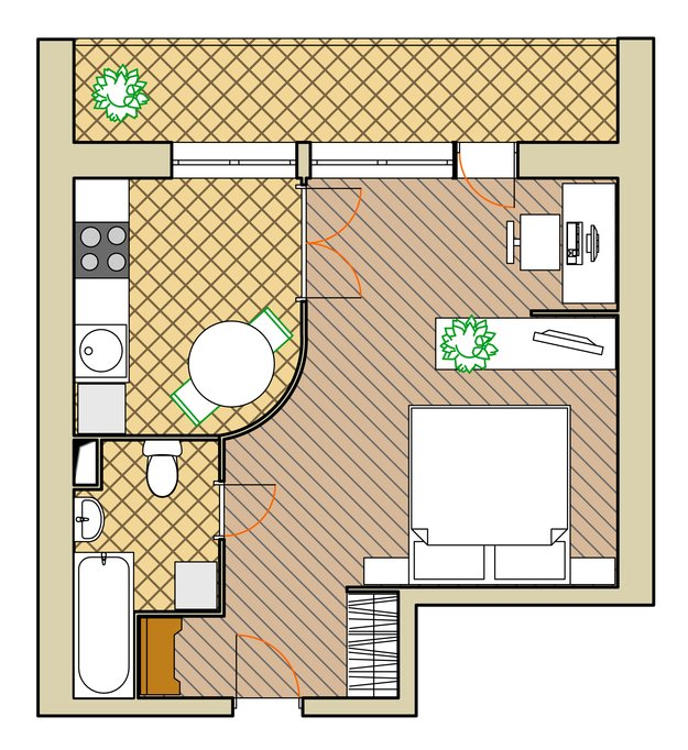 Планировка квартиры для двух взрослых с кабинетом