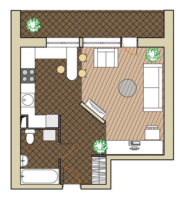 Планировка квартиры с открытой кухней