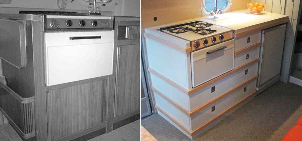 Кухня трейлера «Эйстрим Каравел» до и после