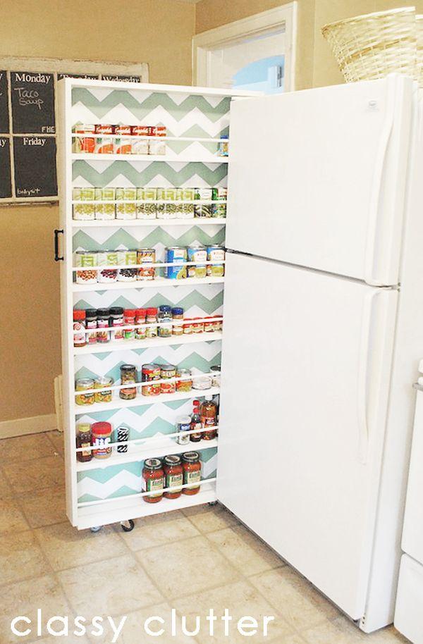 Выдвижной ящик возле холодильника