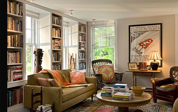 Оригинальные стеллажи для книг в гостиной