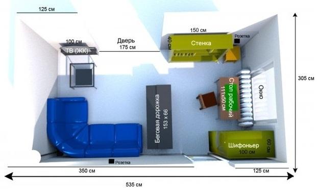 Планировка комнаты с мебелью