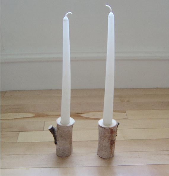 Подсвечники из восстановленной древесины берёзы