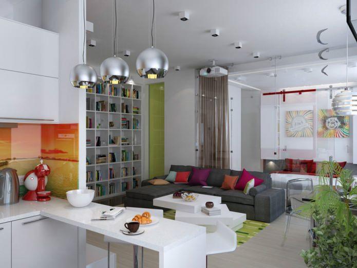 Гостиная небольшой квартиры-студии в Киеве