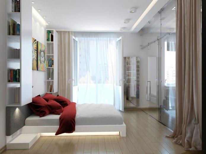 Спальня небольшой квартиры-студии в Киеве