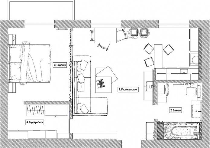 Планировка небольшой квартиры-студии в Киеве