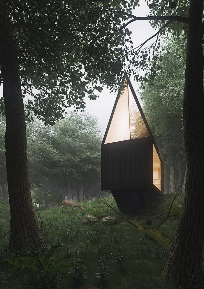 Маленький домик Tomek Michalski Cabin в лесу