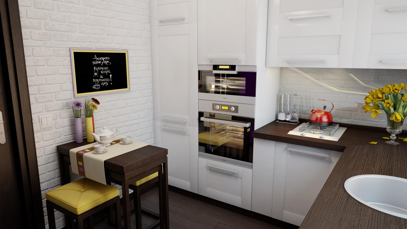 Компактная кухня со столовой