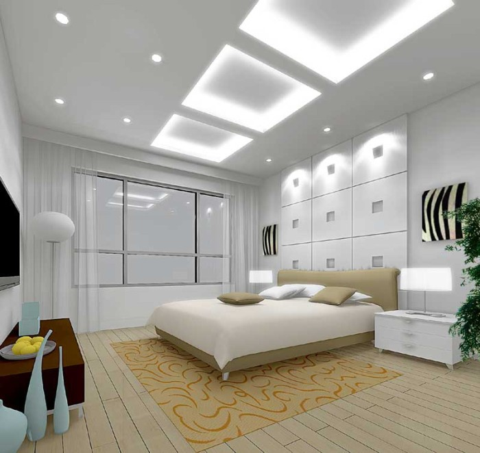 Встроенная подсветка и лампы на прикроватных столиках в спальне