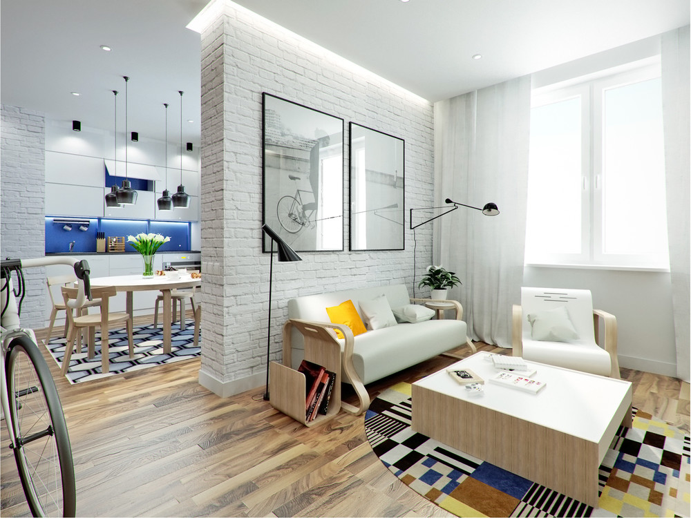 Интерьер маленького дома в светлых тонах