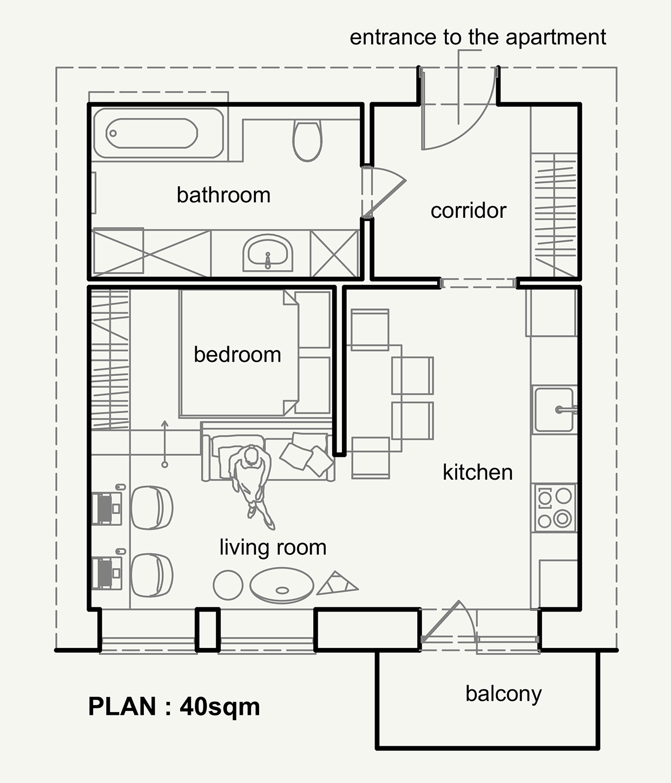 Планировка маленького дома с открытой планировкой