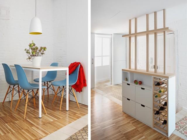 Проект мини квартиры: столовая и винный стеллаж