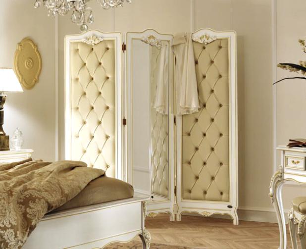 Мягкая ширма в дизайне интерьера спальни
