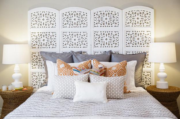 Ажурная ширма в дизайне интерьера спальни