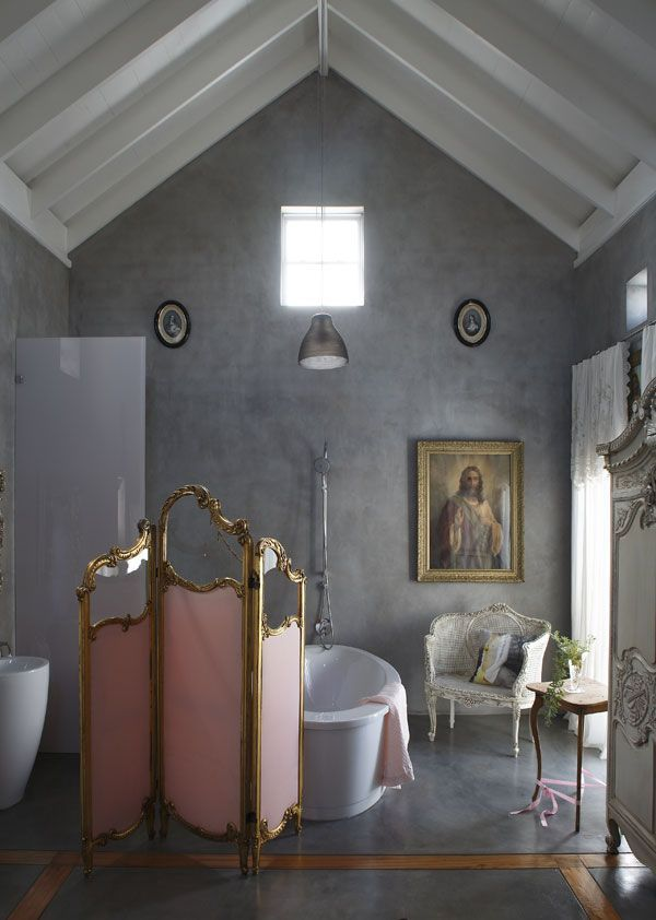 Невысокая ширма в дизайне интерьера ванной