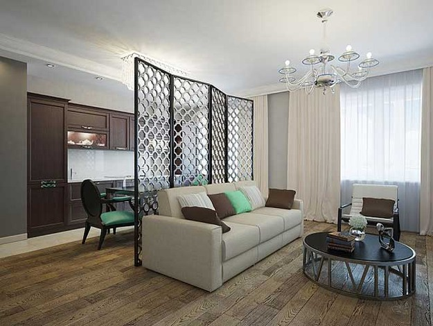 Ажурная ширма в дизайне интерьера гостиной и кухни