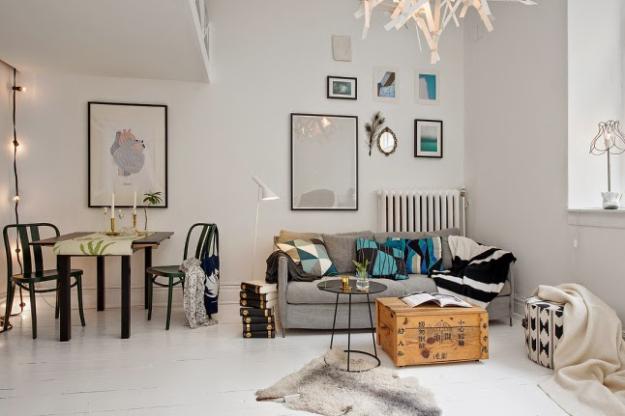 Гостиная и столовая в скандинавском стиле