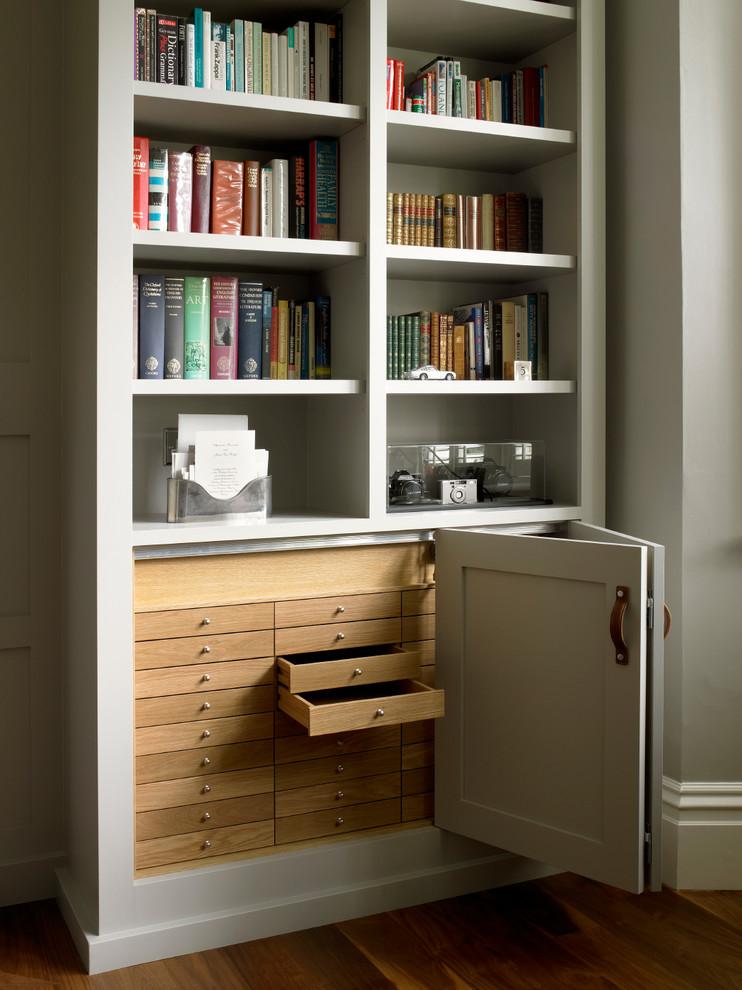 Стеллаж для книг с выдвижными ящиками