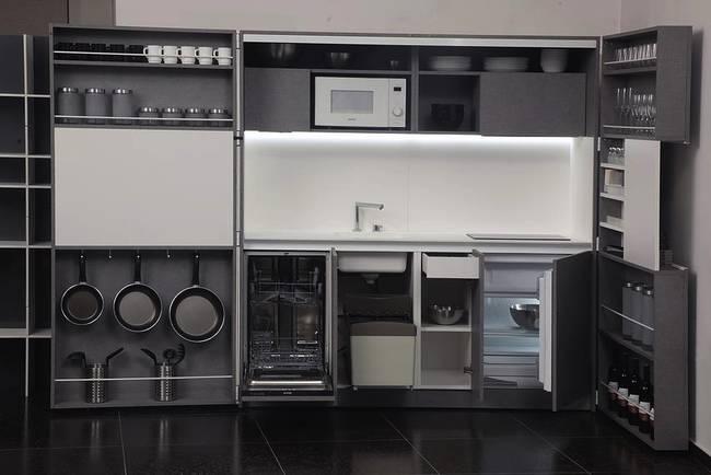 Складная кухня в доме: освещение