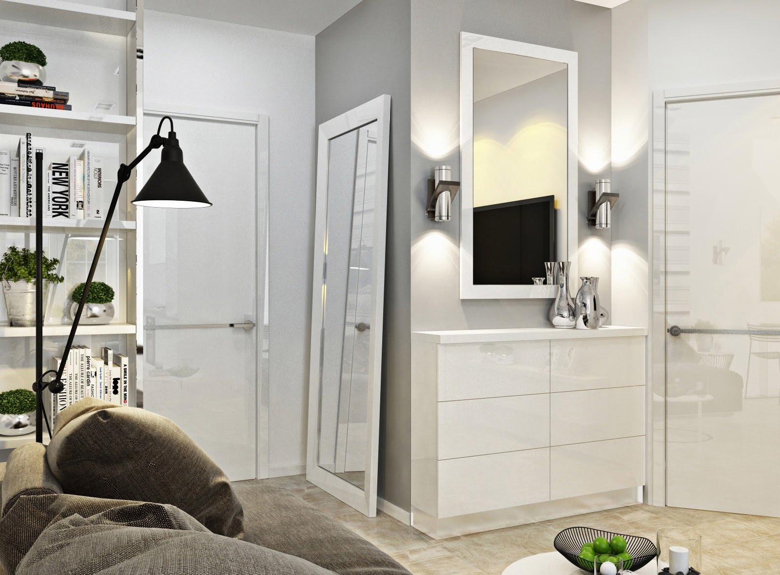 Minimalism im Inneren kleinen Wohnungen
