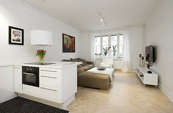 Стильная квартира-студия в белом цвете