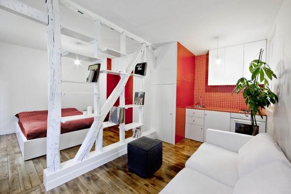 Квартира-студия в красно-белом цвете