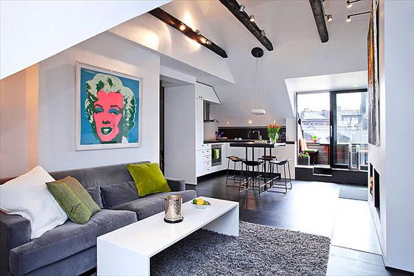 Квартира-студия в мансардном помещении