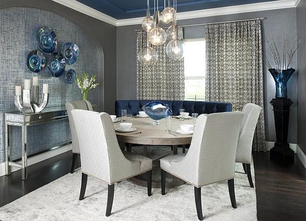 Столовая в серо-синем цвете