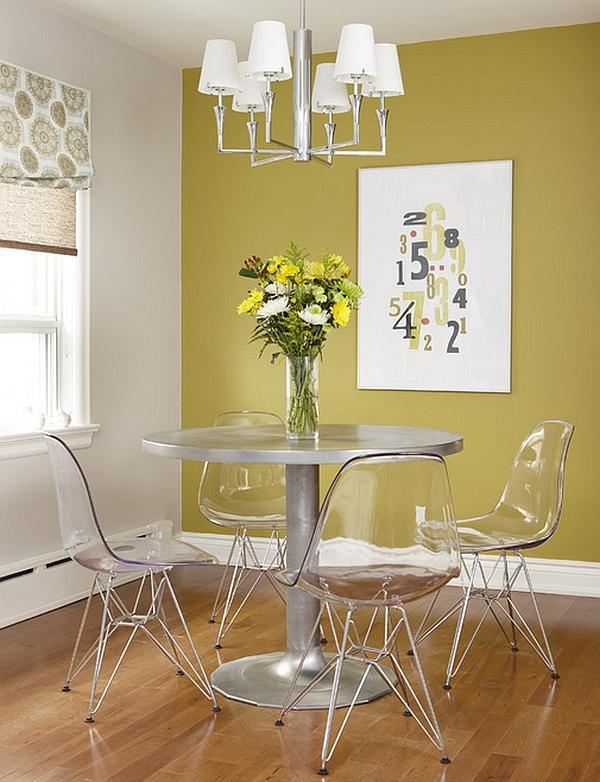Столовая в тёплом жёлтом оттенке