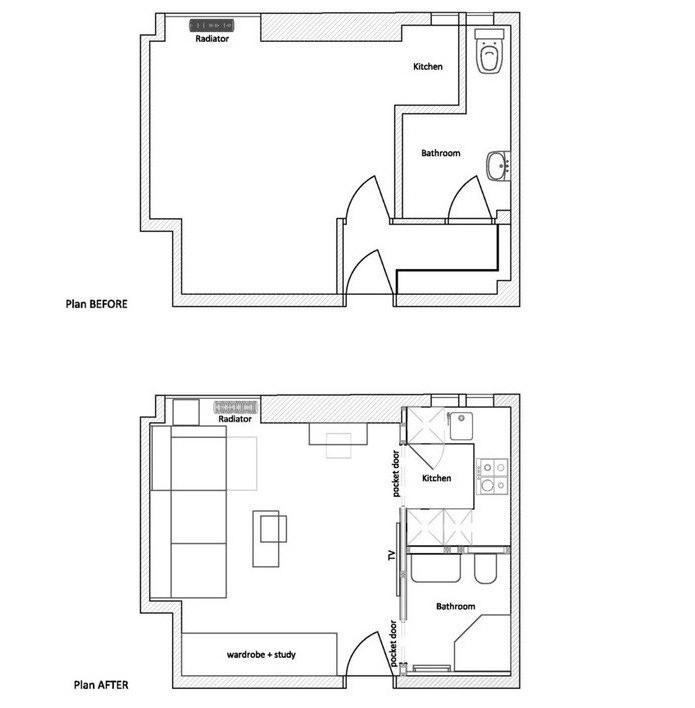 План малогабаритной квартиры до и после ремонта