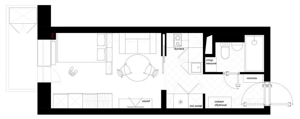 План расстановки мебели в квартире-студии