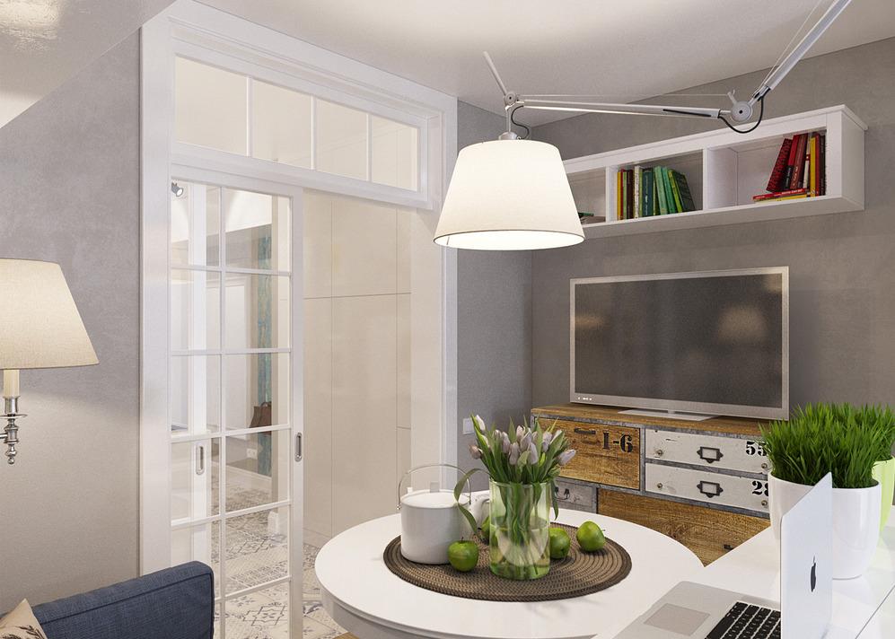 Освещение столовой зоны квартиры-студии