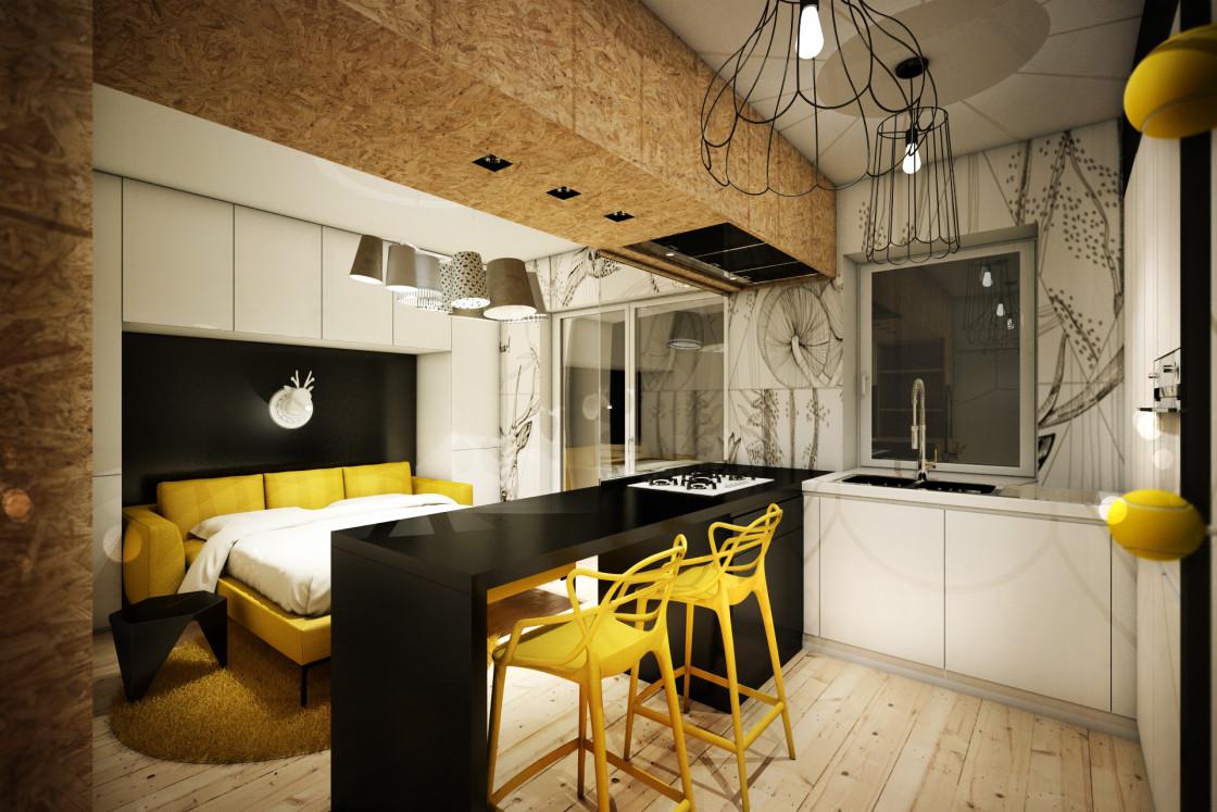 Светлая гостиная зона в маленькой квартире-студии