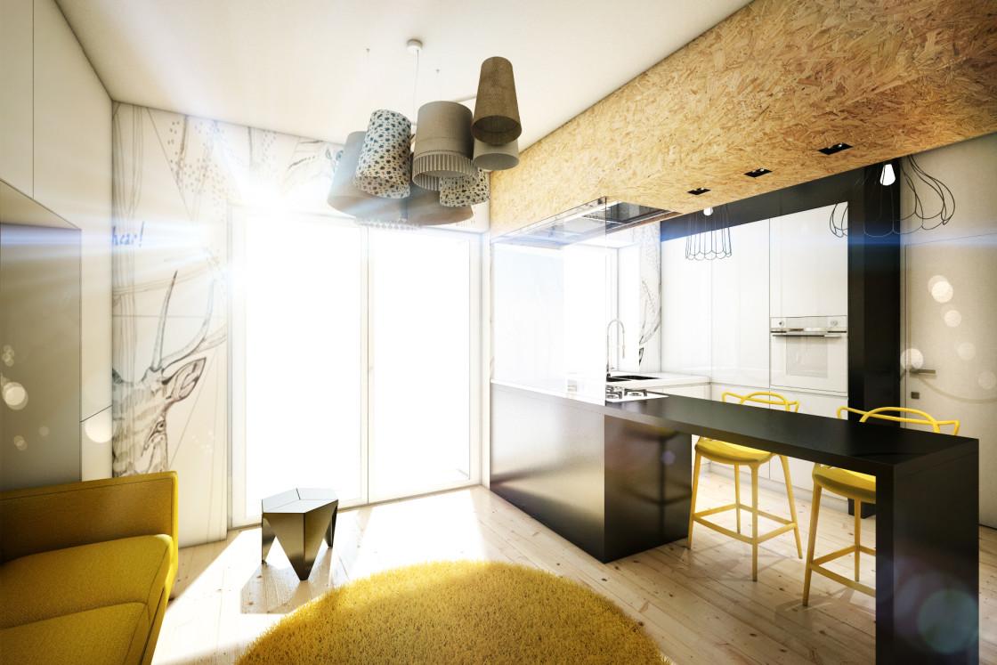 Квартира-студия в чёрно-белом цвете с жёлтыми акцентами