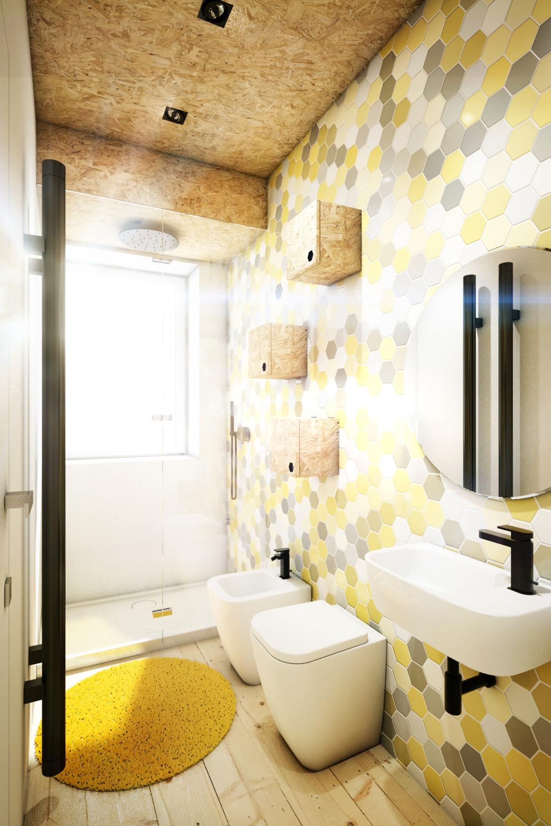 Плитка в виде медовых сот в ванной