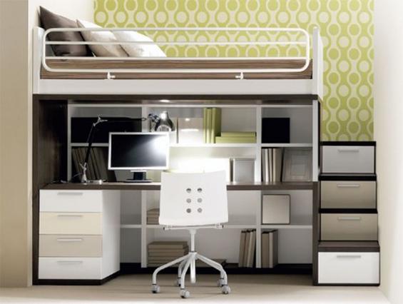 Двухуровневая кровать с кабинетом