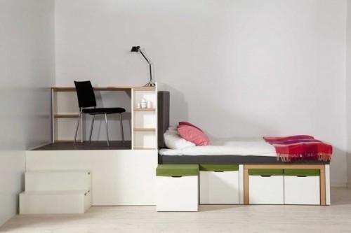 Компактный кабинет и спальня