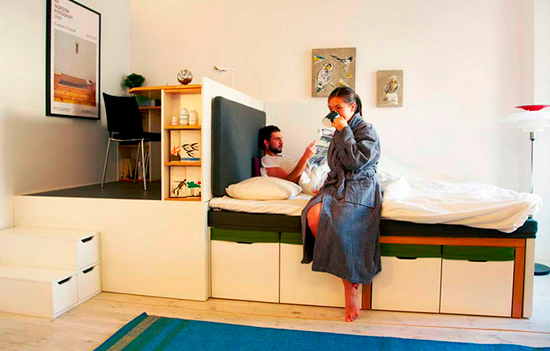 Компактная спальня и кабинет