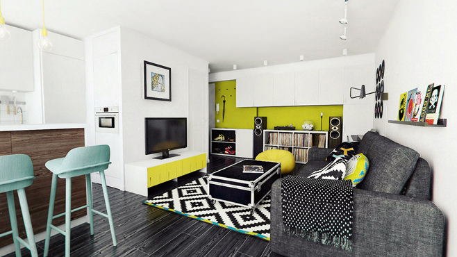 Гостиная двухкомнатной квартиры в Москве