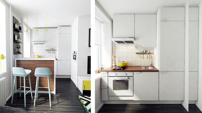Кухня двухкомнатной квартиры в Москве