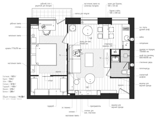 Планировка двухкомнатной квартиры в Москве