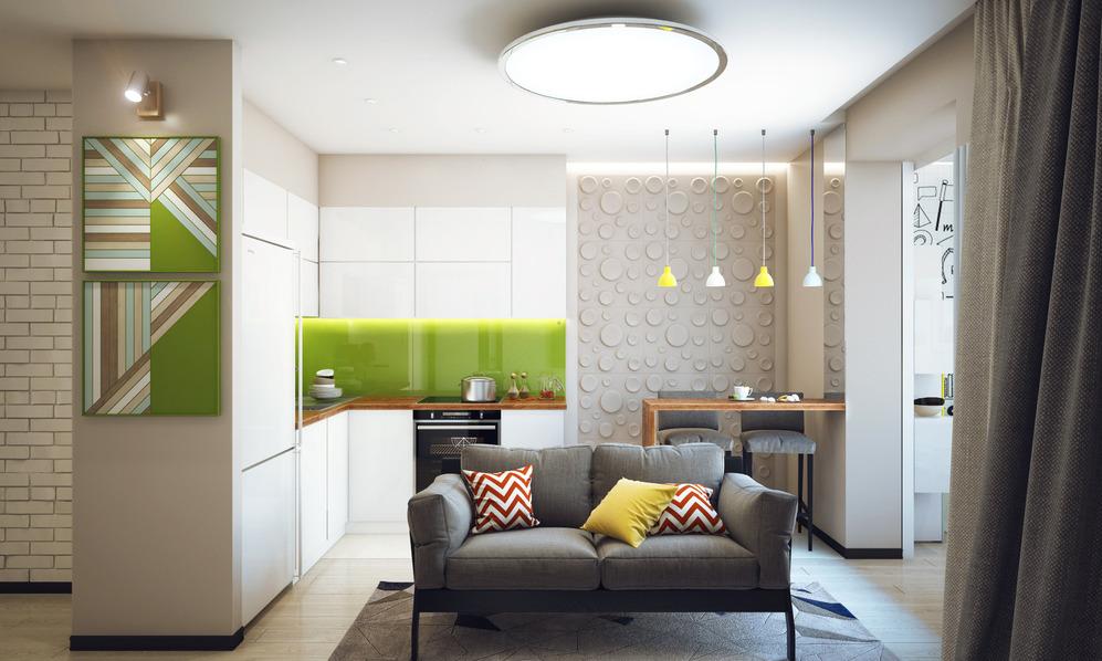 Гостиная и кухня студенческой квартиры в Новосибирске