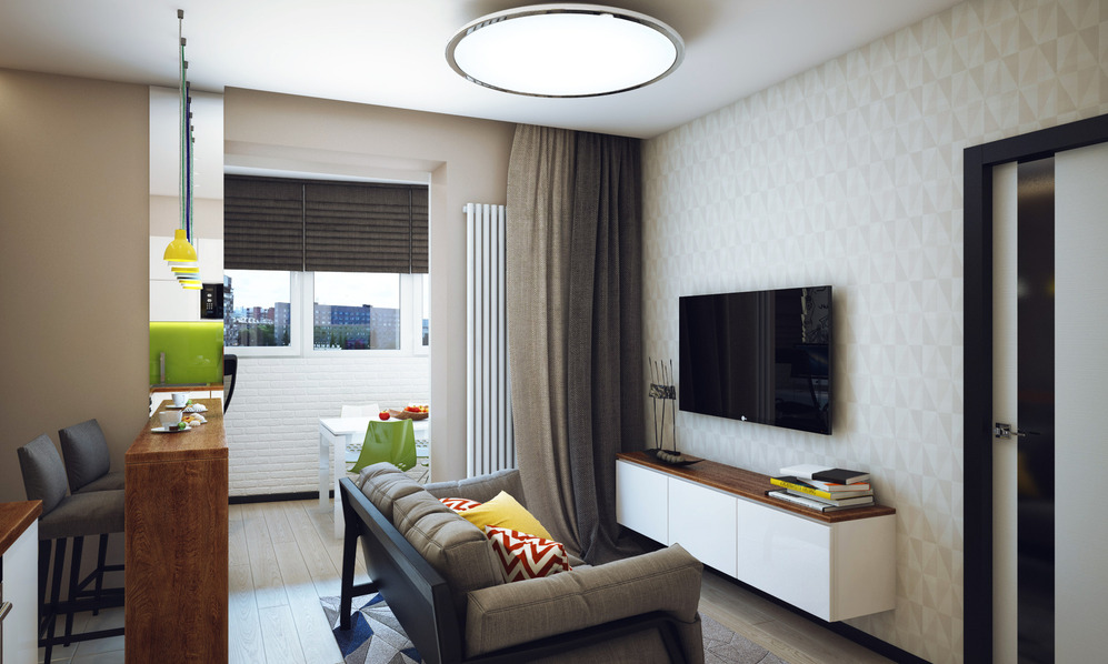 Гостиная студенческой квартиры в Новосибирске